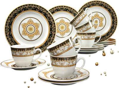 CreaTable Kaffeeservice »Majestosa« (18-tlg), Porzellan, Dekor schwarz abgesetzt, Mikrowellengeeignet