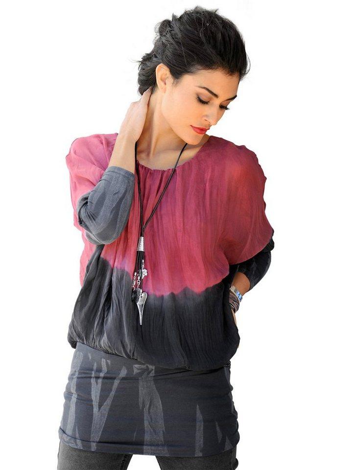 Alba Moda 2-in-1 Batik Shirt in schwarz/rot