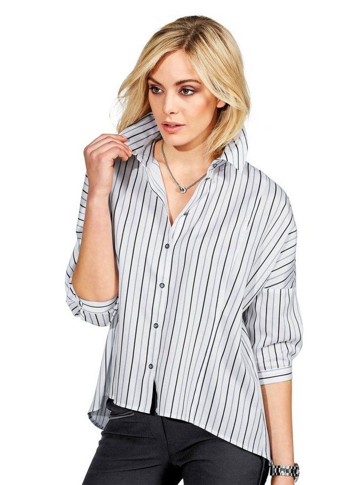 Alba Moda Hemdbluse in weiß/grau