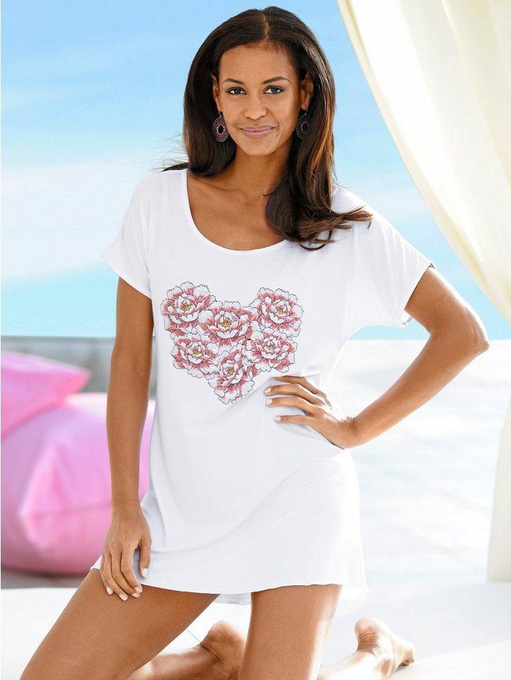 Alba Moda T-Shirt mit Blütendruck in weiß