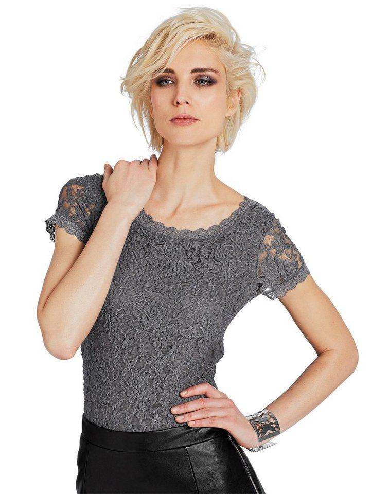 Alba Moda Spitzenshirt in grau