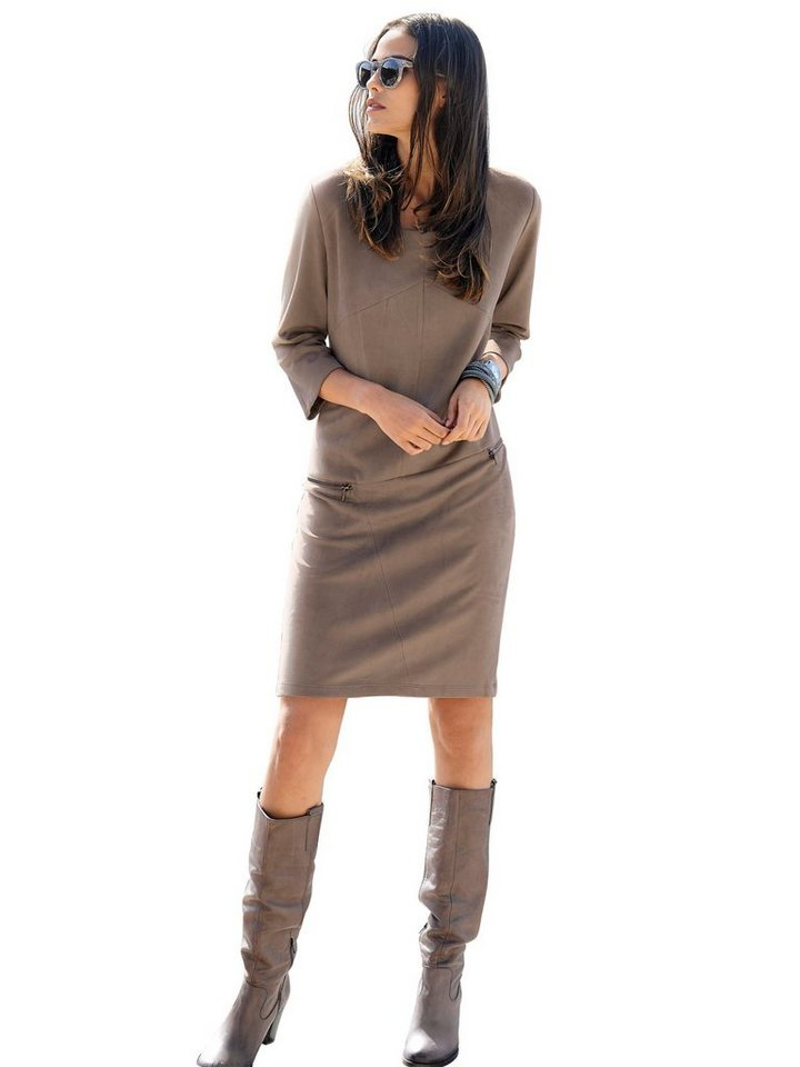 Alba Moda Lederimitatkleid in taupe