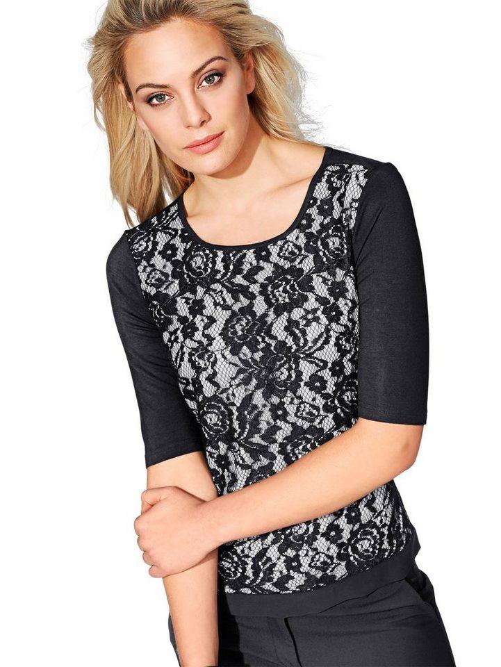 Alba Moda Spitzenshirt in schwarz/weiß