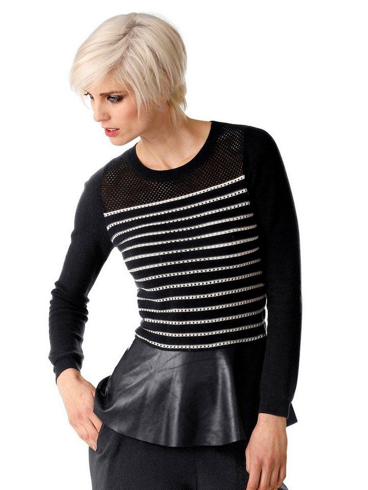 Alba Moda Pullover in schwarz/weiß