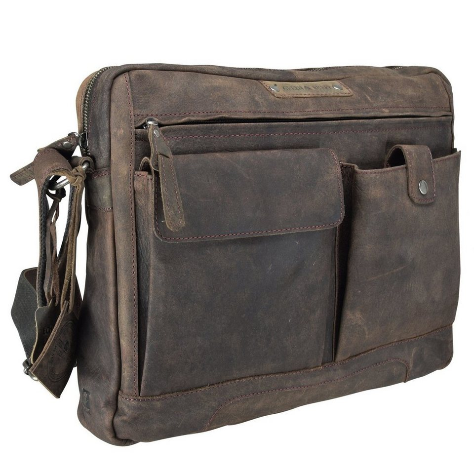 Greenburry Vintage Revival Umhängetasche Leder 39 cm in charcoal