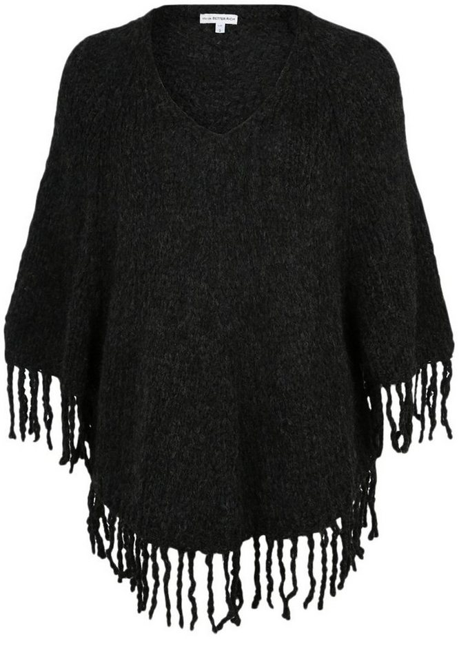 Better Rich Poncho »FRINGE« in anthra