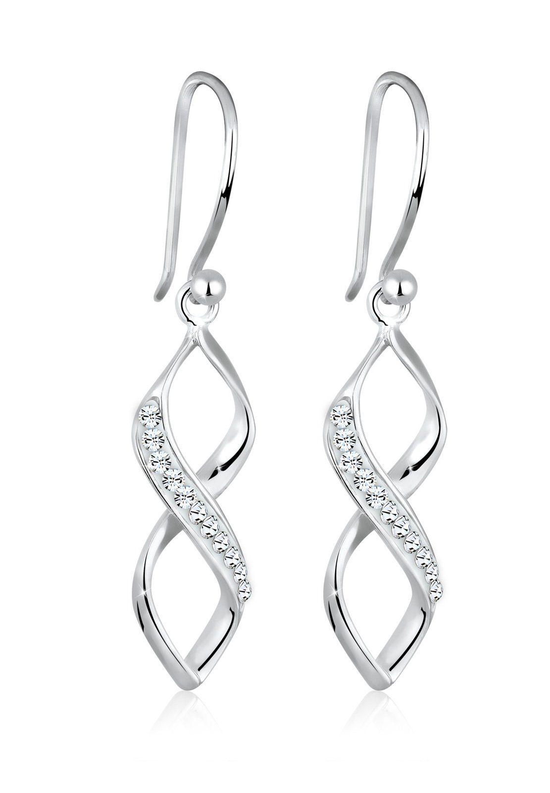 Elli Ohrringe »Spirale Infinity Swarovski® Kristalle 925 Silber«