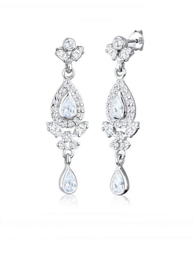 Elli Ohrringe »Ornament Tropfen Zirkonia 925 Sterling Silber« in Weiß