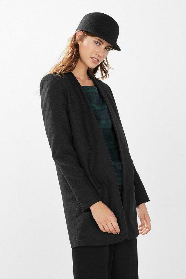 ESPRIT CASUAL Long Blazer aus Leinen-Mix in BLACK