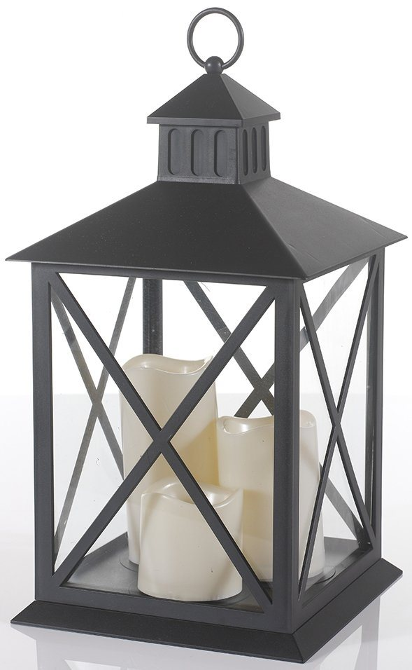 Laterne inkl. 3 LED-Kerzen (4-tlg.) in schwarz, cremeweiß