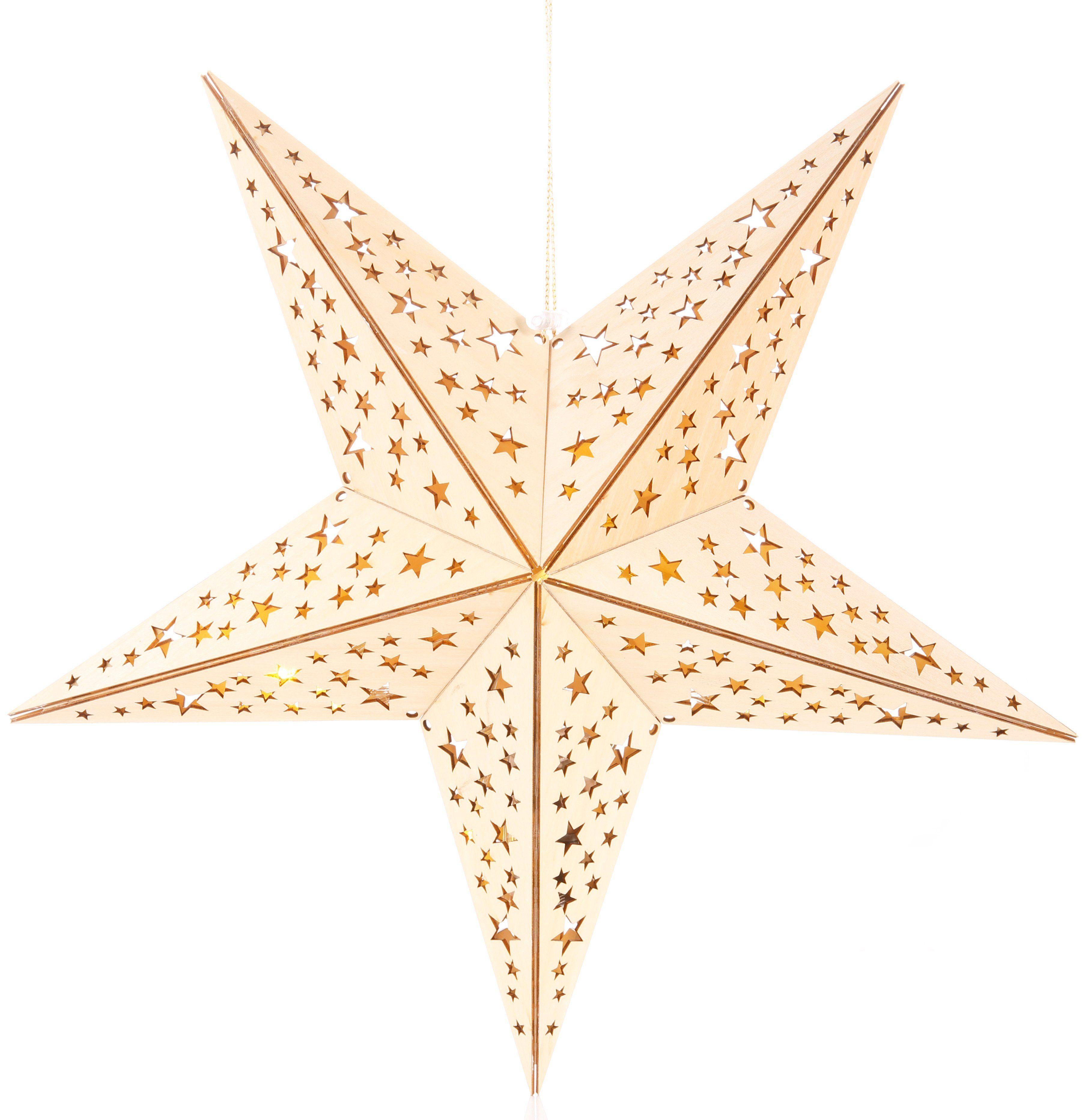 LED Holzstern mit 10-teiliger Lichterkette