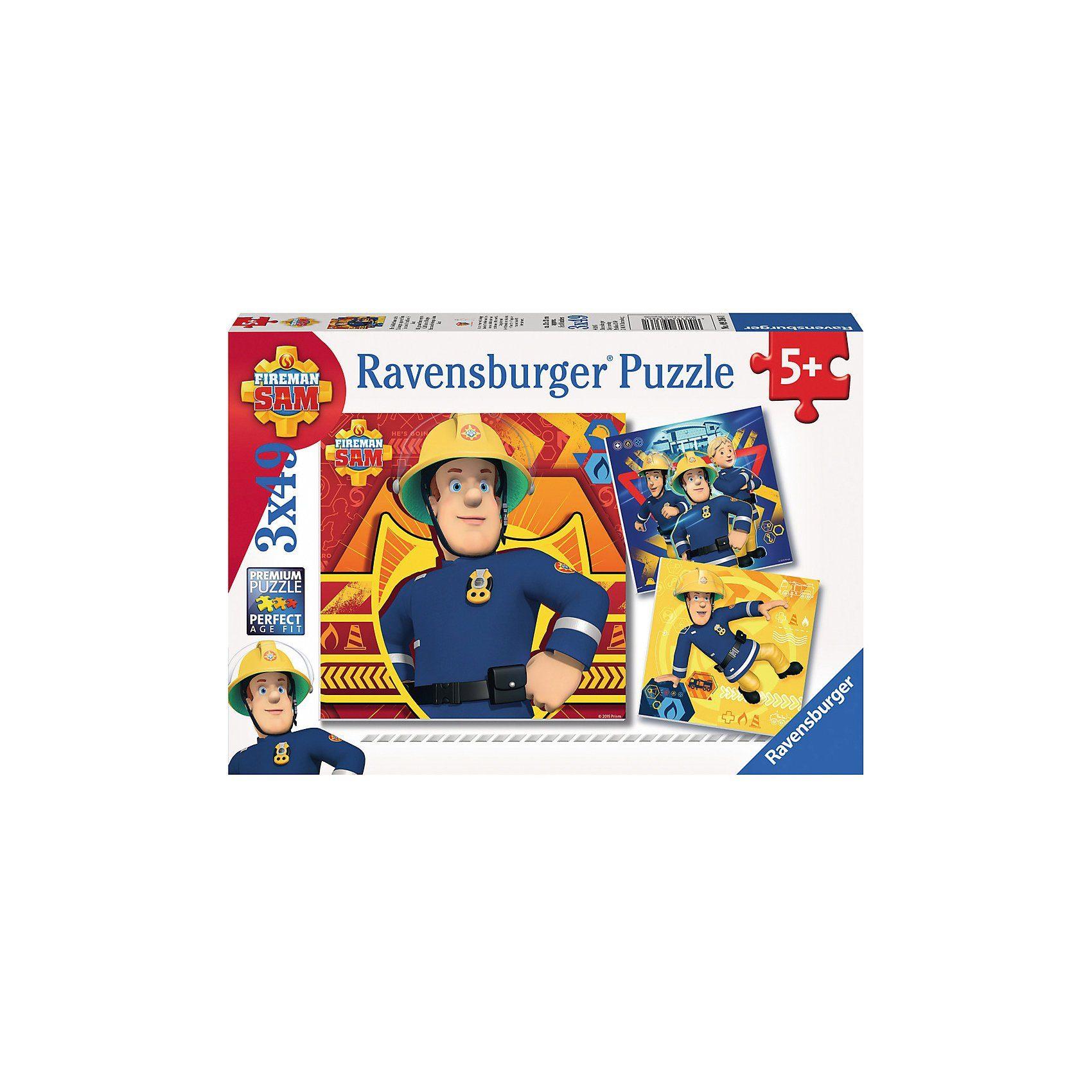 Ravensburger Puzzleset 3 x 49 Teile Feuerwehrmann Sam: Bei Gefahr Sam ruf
