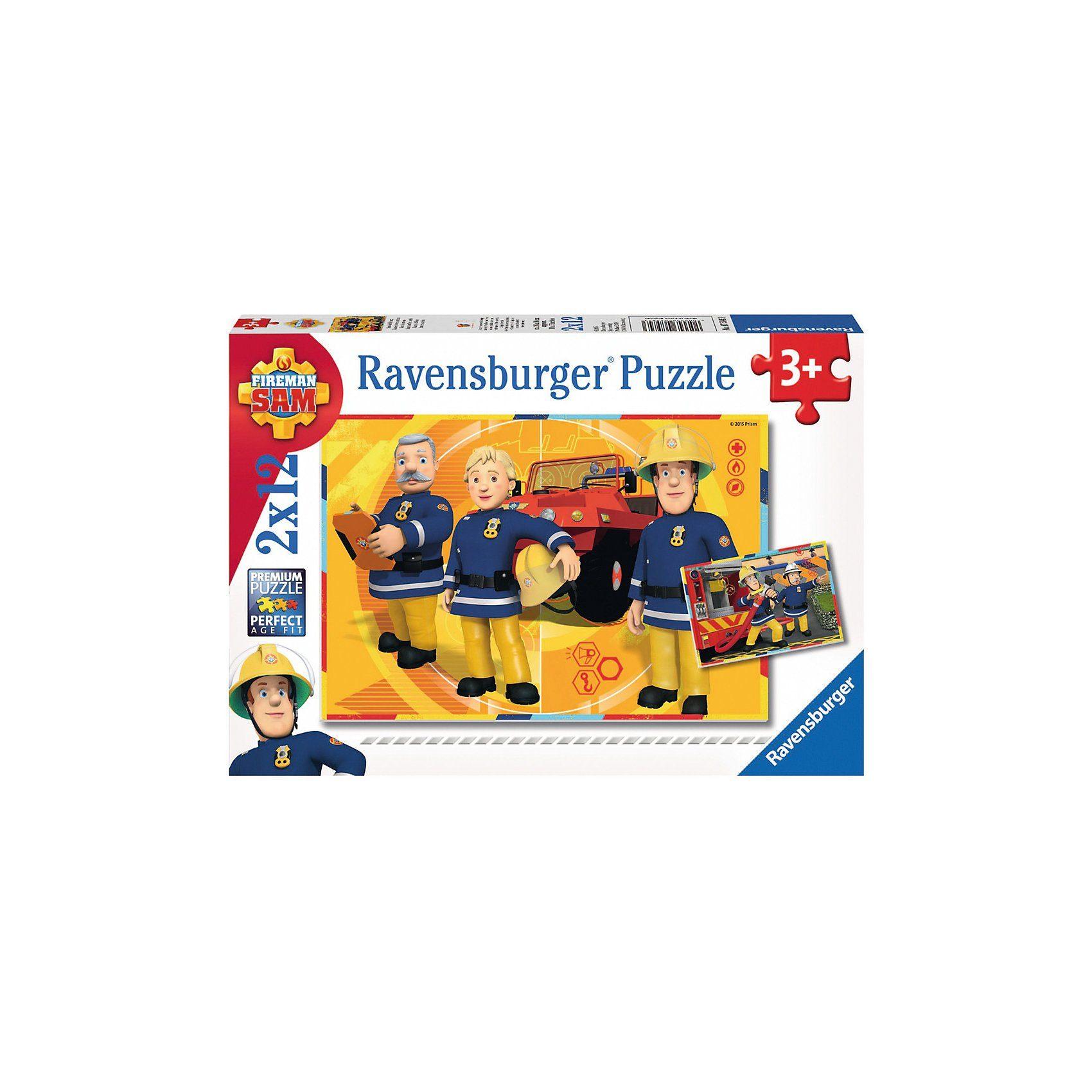 Ravensburger Puzzleset 2 x 12 Teile Feuerwehrmann Sam: Sam im Einsatz