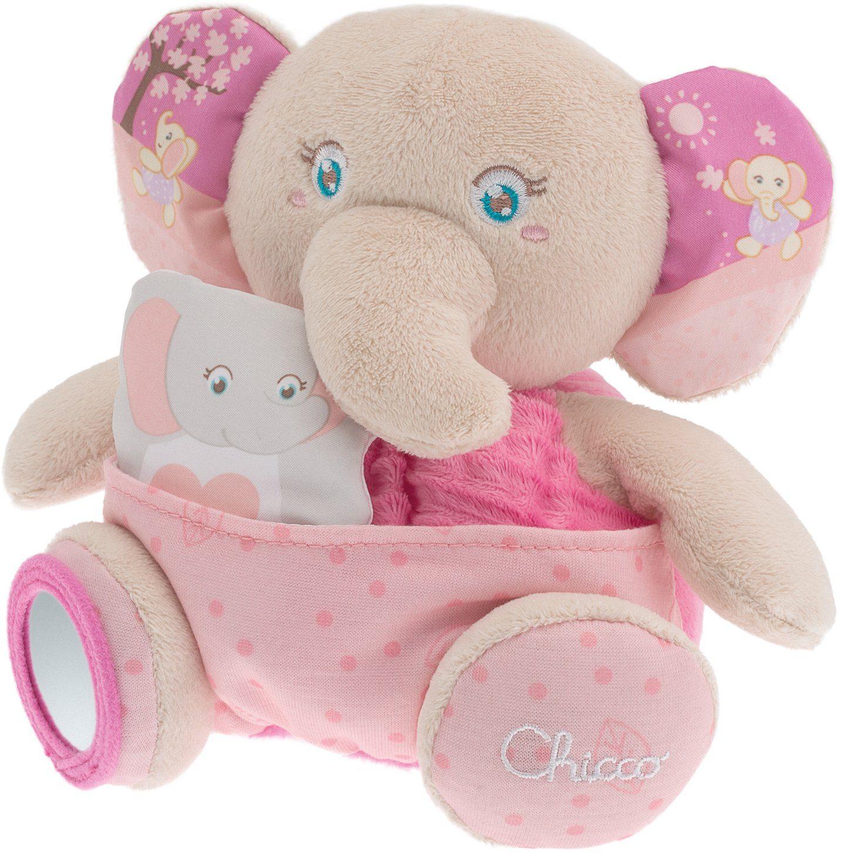 Chicco® Stofftier mit Spiegel, ca. 19 cm, »First Dreams Plüschtier mit Fingerpuppe Elefant«