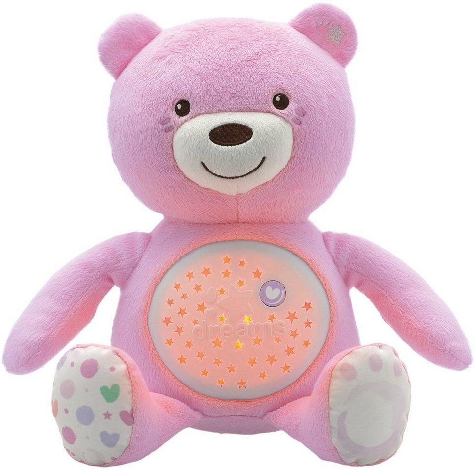 Chicco® Stofftier mit Lichtprojektion und Soundfunktion, ca. 30 cm, »First Dreams Baby Bär, Rosa« in Rosa
