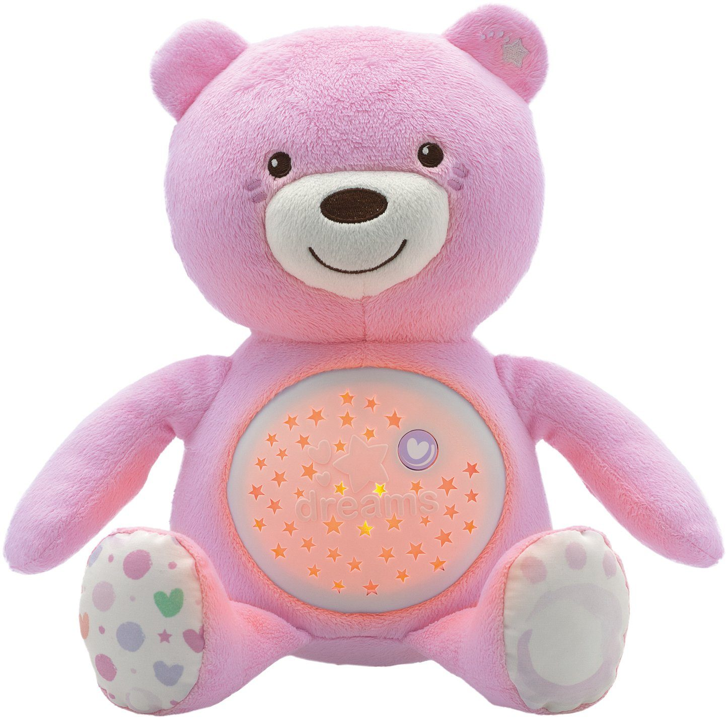 Chicco® Stofftier mit Lichtprojektion und Soundfunktion, ca. 30 cm, »First Dreams Baby Bär, Rosa«