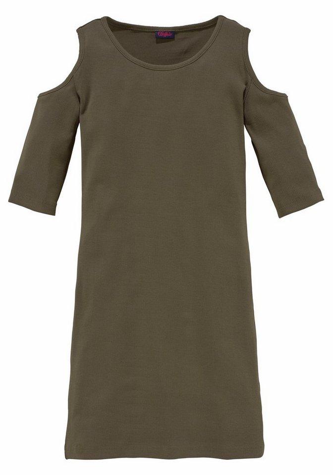Buffalo Jerseykleid mit ausgeschnittener Schulter in khaki