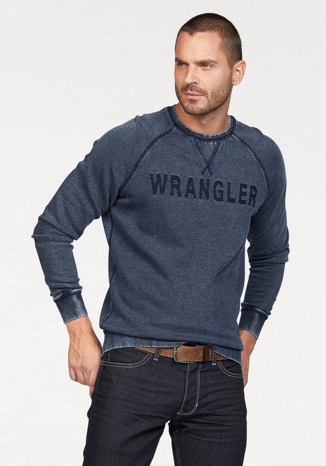 Wrangler Sweatshirt in angesagter Used-Optik in mid-indigo