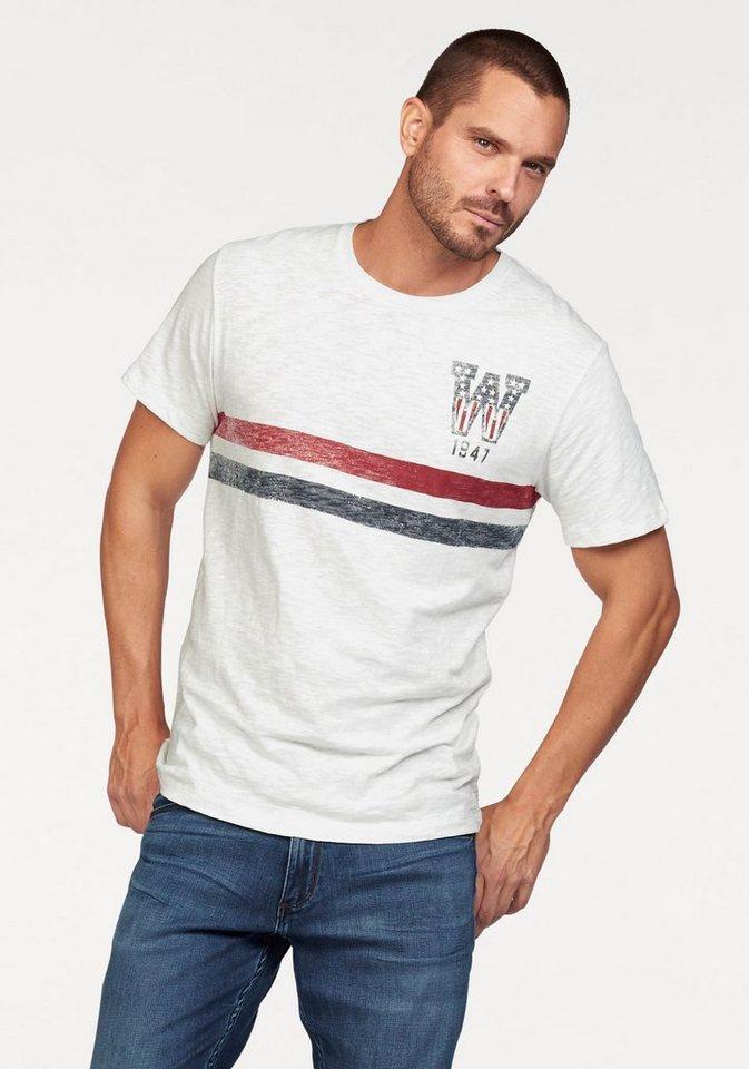 Wrangler T-Shirt aus hochwertiger strukturierter Ware in offwhite