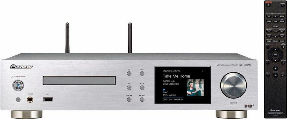 Pioneer NC-50DAB 2 Netzwerkplayer (Hi-Res, CD-Player, Spotify Connect, Spotify, Deezer, Airplay) in silberfarben