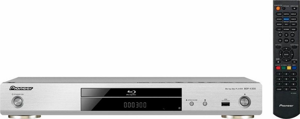 Pioneer BDP-X300 Blu-ray-Player, Hi-Res, 3D-fähig, 1080p (Full HD), WLAN in silberfarben