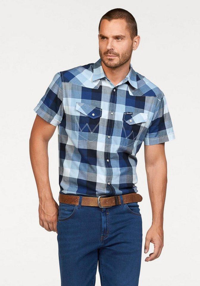 Wrangler Kurzarmhemd in blau-weiß-kariert