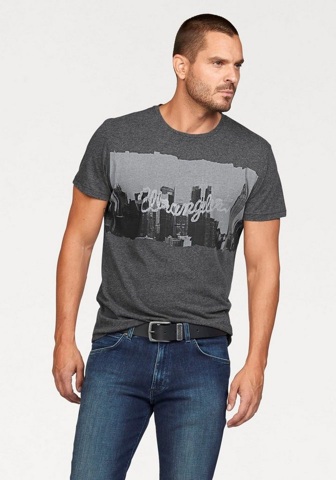 Wrangler T-Shirt mit trendigem Fotoprint in dunkelgrau-meliert