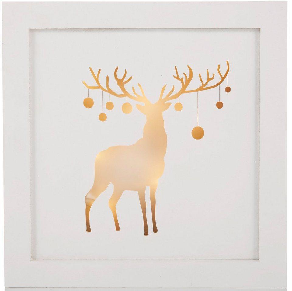LED Bild mit Hirschmotiv in weiß