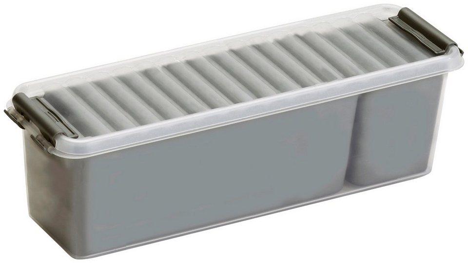 Aufbewahrungsbox »Mix Box 1,3 Liter + 2 Fächer«, 4er-Set in grau/transparent