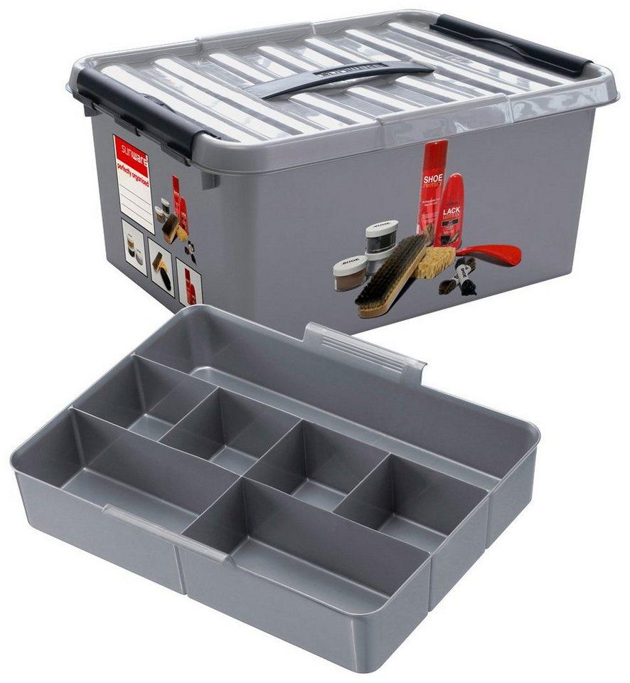 Aufbewahrungsbox »Schuhputz Box 15 Liter mit Einsatz« in grau/schwarz