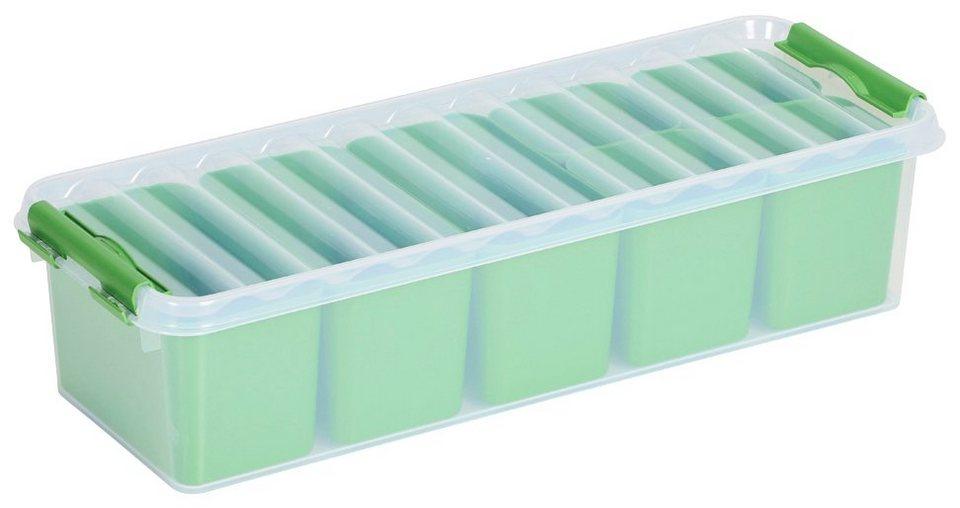 Aufbewahrungsbox »Mix Box 3,5 Liter + 7 Fächer«, 4er-Set in grün/transparent