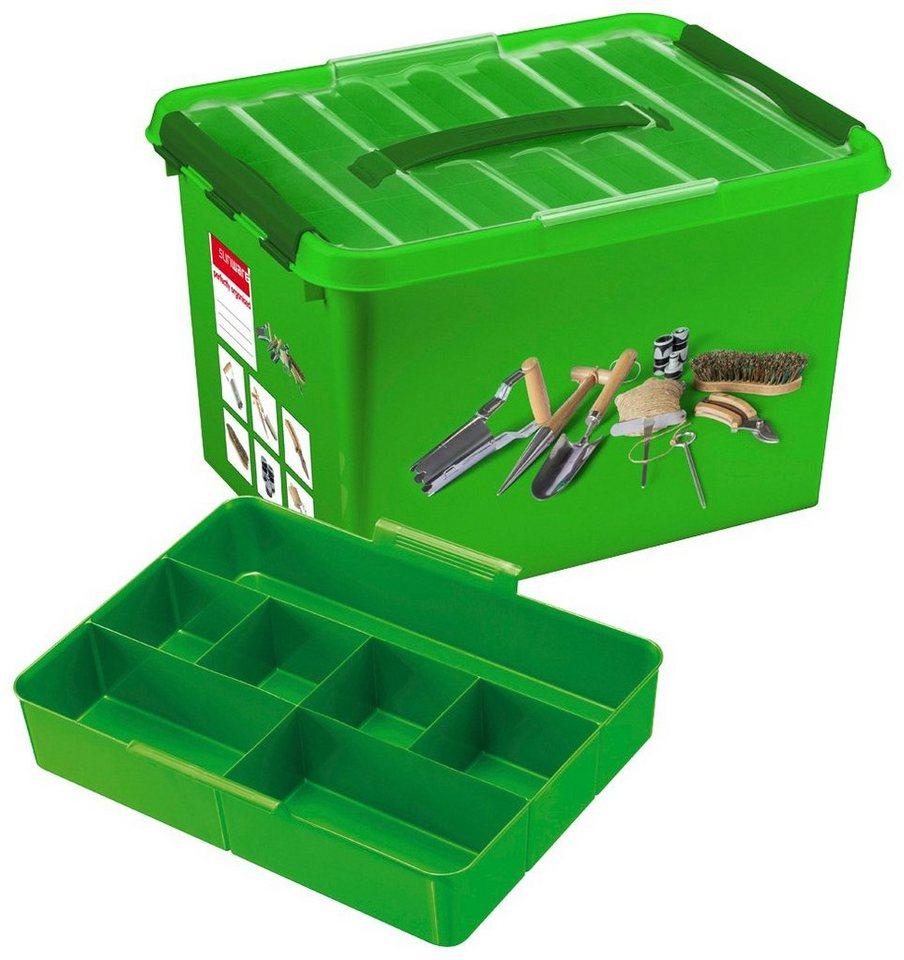 Aufbewahrungsbox »Gartenbox 22 Liter mit Einsatz« in grün/transparent