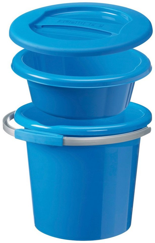 Sunware Reinigungseimer »Waterline«, 3-tlg. Set in blau