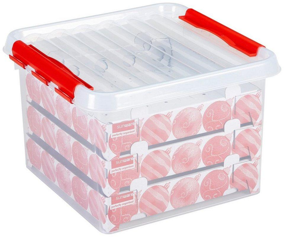 Weihnachtskugelbox für »Weihnachtskugeln / Christbaumkugeln« 26 Liter in transparent/rot