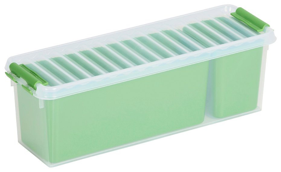 Sunware Aufbewahrungsbox »Mix Box 1,3 Liter + 2 Fächer«, 4er-Set in grün/transparent