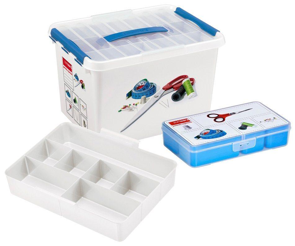 Sunware Aufbewahrungsbox »Nähkasten 22 Liter mit Einsatz + 5 Fächer« in transparent/blau