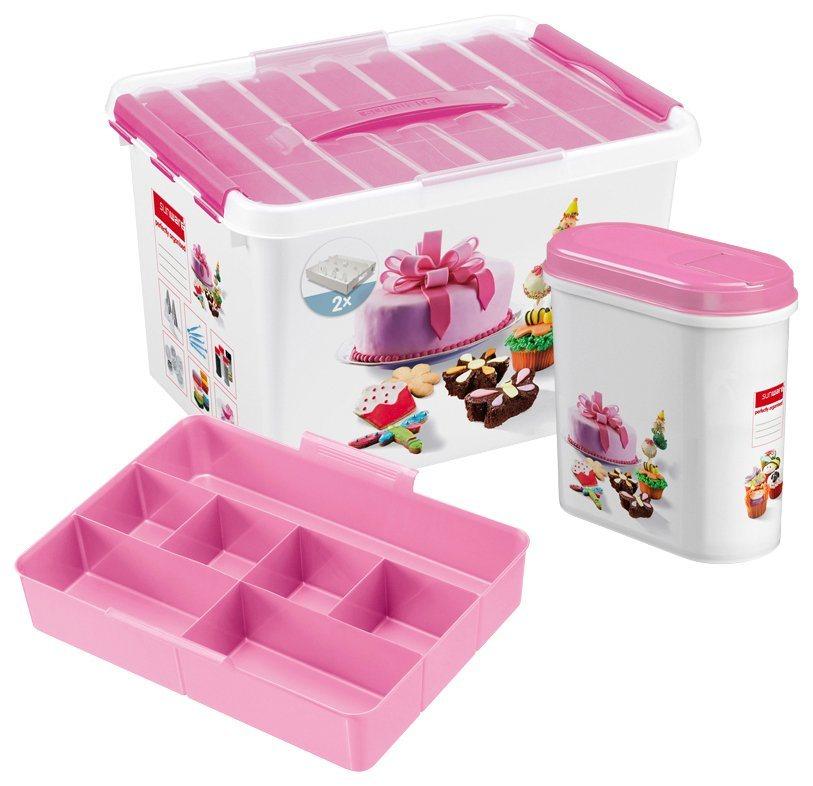 Aufbewahrungsbox fürs Backen »Dekor Box« mit Einsatz + Streudose in weiß/transparent/rosa
