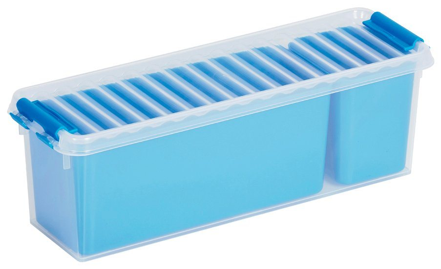 Aufbewahrungsbox »Mix Box 1,3 Liter + 2 Fächer«, 4er-Set in blau/transparent