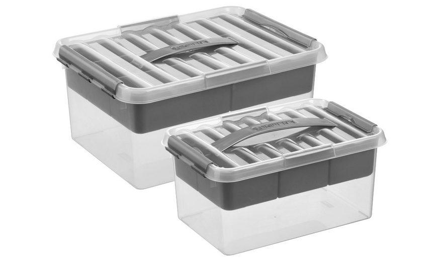 Aufbewahrungsbox »6 Liter und 15 Liter«, mit Einsatz und Deckel, 2er-Set