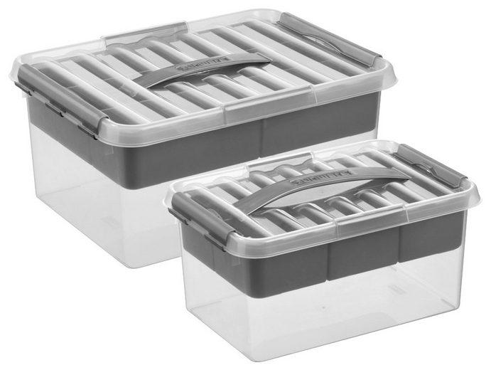 Sunware Aufbewahrungsbox »6 Liter und 15 Liter«, mit Einsatz und Deckel, 2er-Set