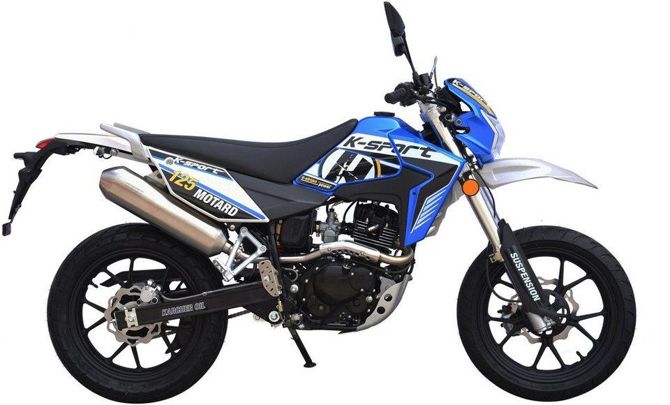K-Sport Motorrad, 125 ccm, 101 km/h, 11,42 PS, »Motard Supermoto 125« in blau