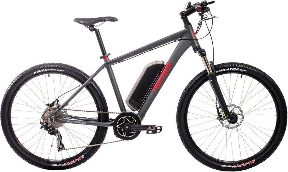 Telefunken Herren Alu Hardtail MTB-E-Bike, 27,5 Z., 10-Gg. Shim. Deore Kettensch., »Aufsteiger M800« in anthrazit
