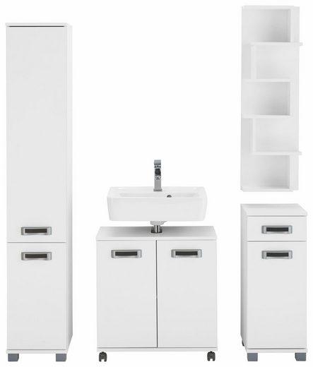 Schildmeyer Badmöbel-Set »Kos«, (Set, 4-tlg), aus Hochschrank, Waschbeckenunterschrank, Unterschrank und Wandregal, Türanschläge wechselbar, Badezimmerschränke mit pflegeleichten Oberflächen, praktischer Stauraum durch viele Fächer