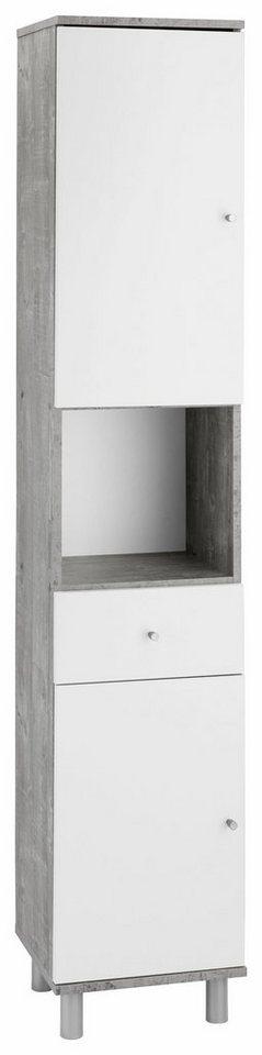 Hochschrank »Simply« in beton/weiß