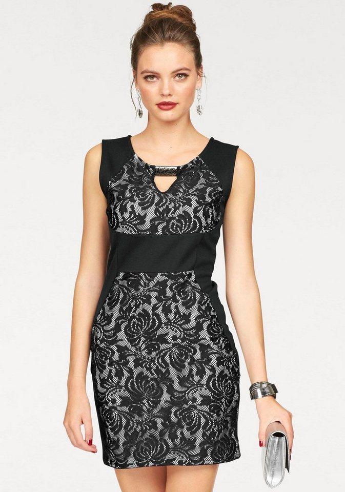 Melrose Jerseykleid mit Spitzeneinsatz in schwarz-weiß