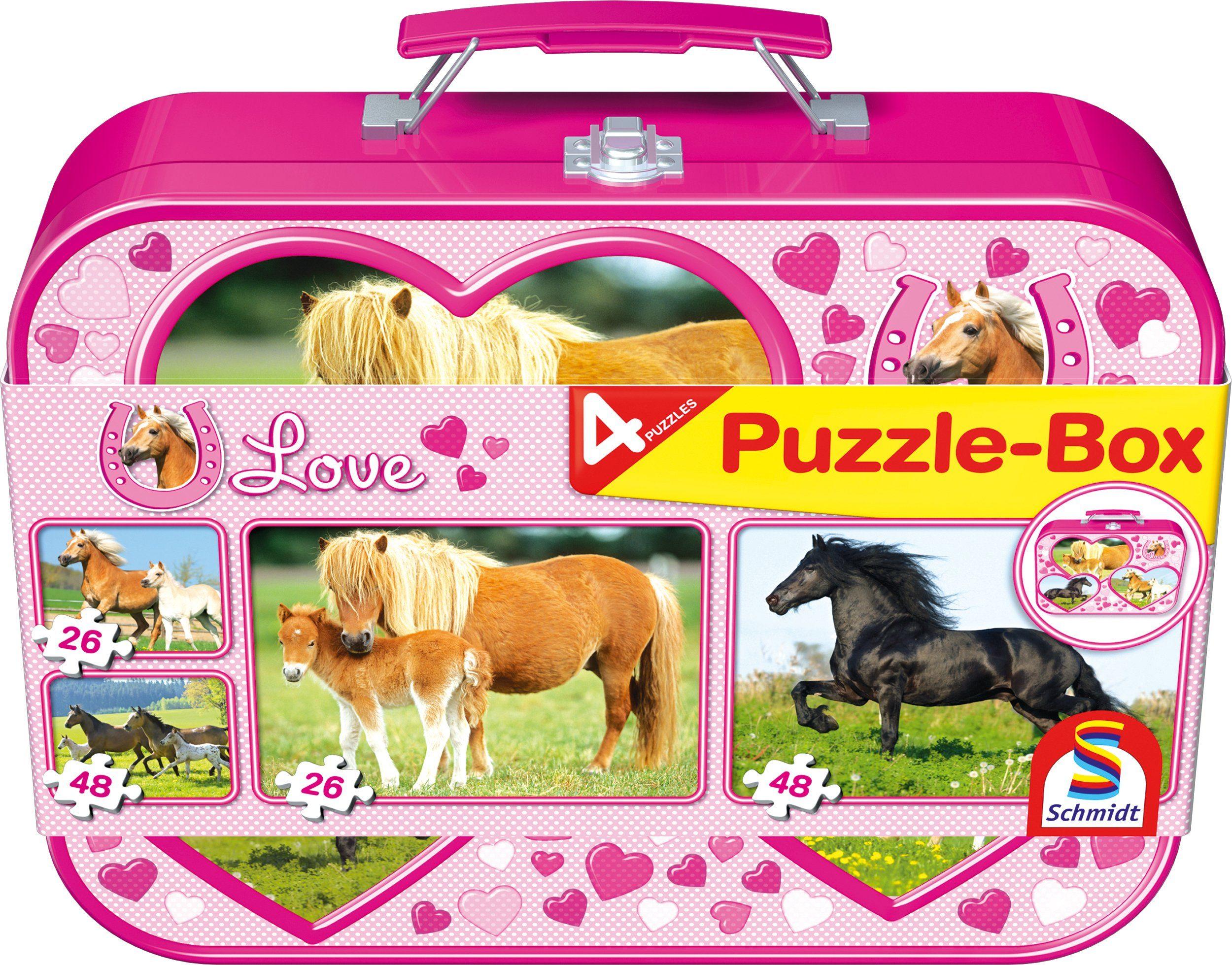 Schmidt Spiele Kinderpuzzleset mit 2x26 und 2x48 Teilen, »Puzzlebox im Metallkoffer, Pferde«