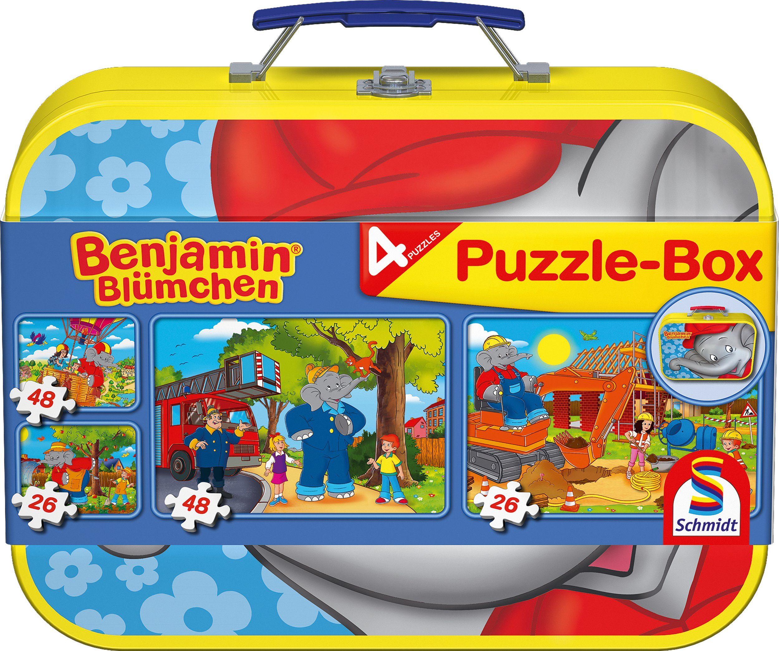 Schmidt Spiele Kinderpuzzleset 2x26 und 2x48 Teilen, »Puzzlebox im Metallkoffer, Benjamin Blümchen®«
