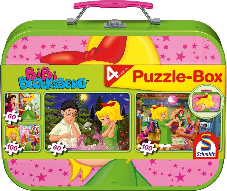 Schmidt Spiele Kinderpuzzleset 2x60 und 2x100 Teile, »Puzzlebox im Metallkoffer, Bibi Blocksberg™«