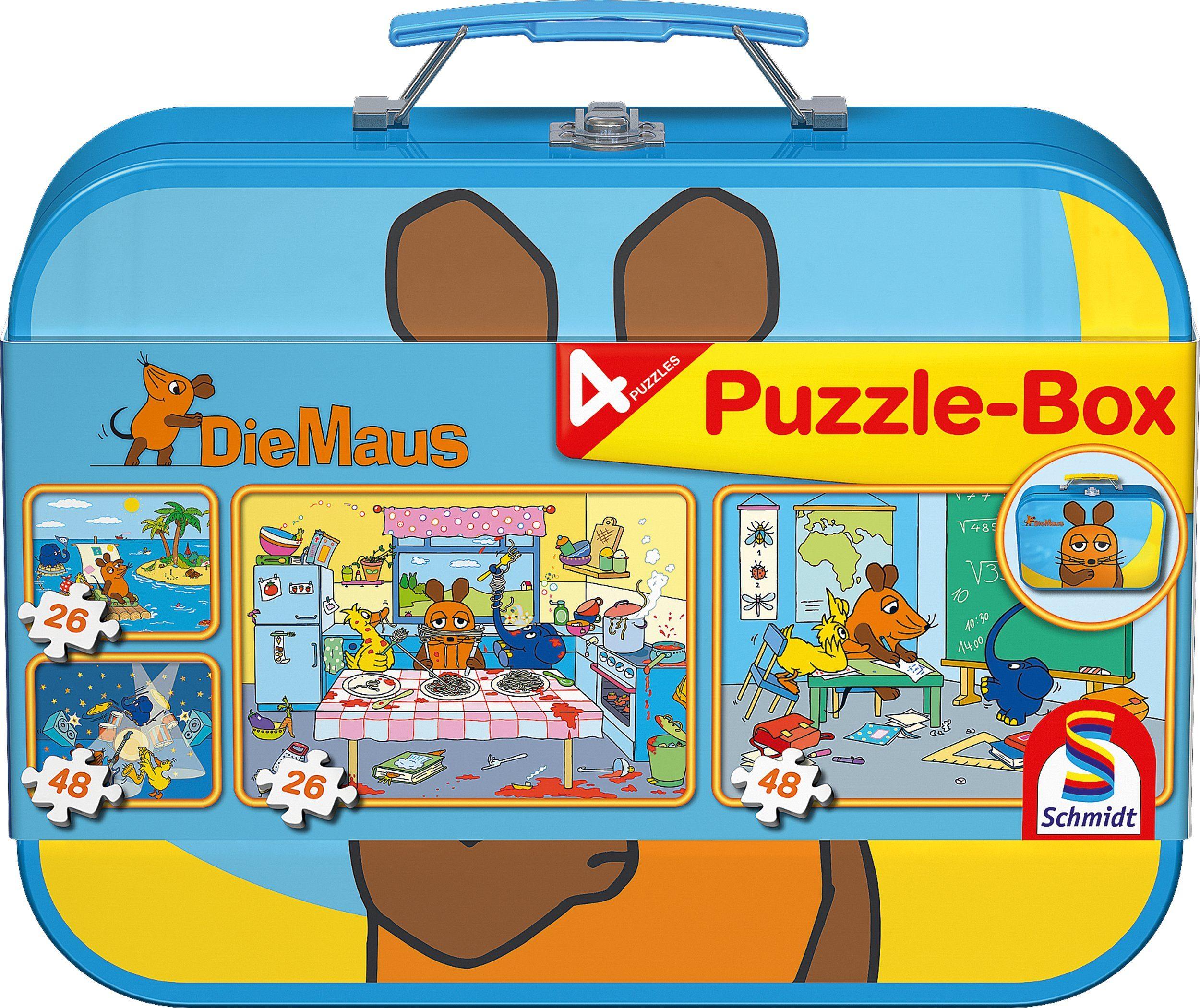 Schmidt Spiele Kinderpuzzleset mit 2x26 und 2x48 Teilen, »Puzzlebox im Metallkoffer, Die Maus«