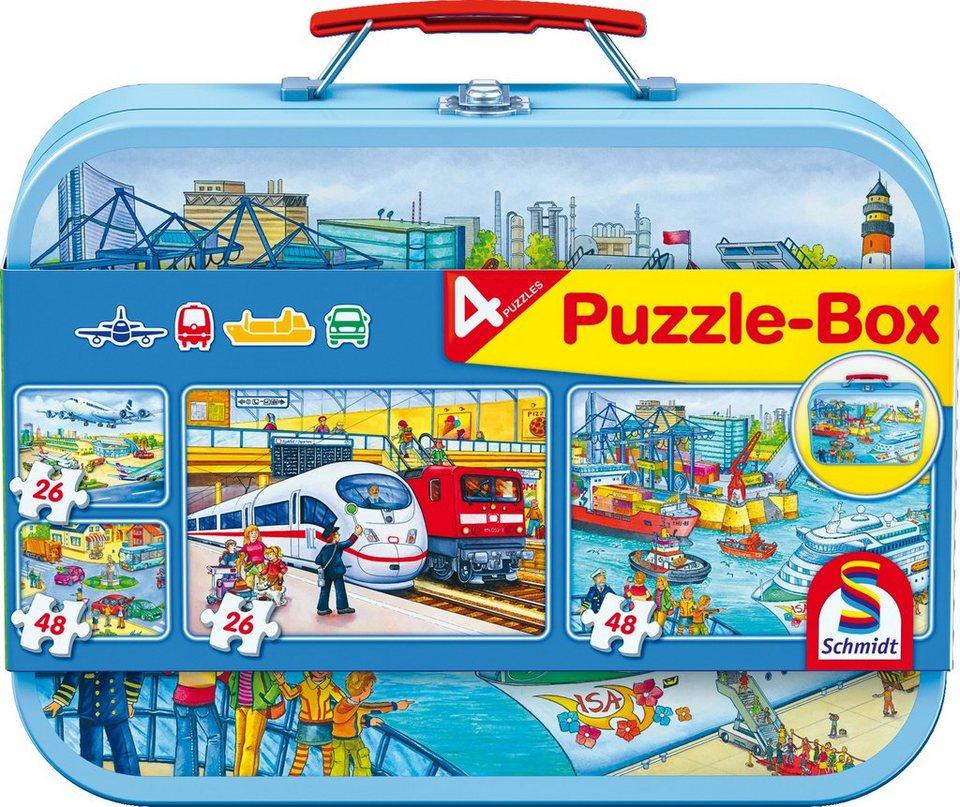 Schmidt Spiele Kinderpuzzleset mit 2x26 und 2x48 Teilen, »Puzzlebox im Metallkoffer, Verkehrsmittel«